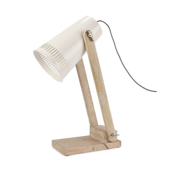 Beżowa lampa stołowa z białym kloszem HF Living Master