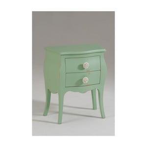 Zelený dřevěný noční stolek se 2 zásuvkami Castagnetti Isabeau
