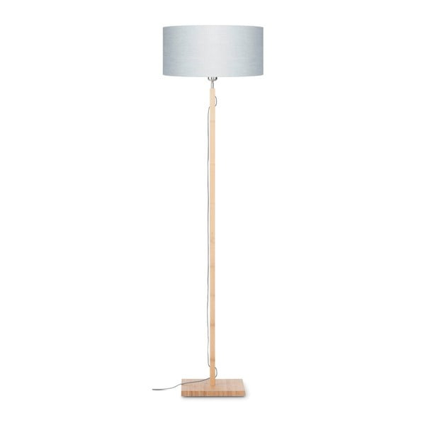 Stojací lampa se světle šedým stínidlem a konstrukcí z bambusu Good&Mojo Fuji