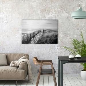 Skleněný obraz OrangeWallz Black Sand Beach, 60 x 90 cm