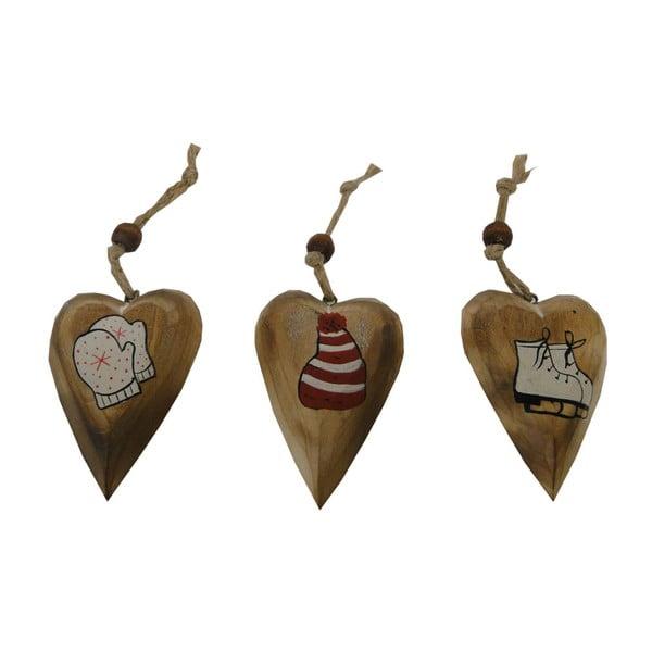 Set 3 decorațiuni suspendate în formă de inimă Antic Line