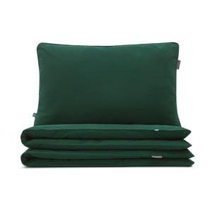 Tmavě zelené bavlněné povlečení na jednolůžko Mumla, 160 x 200 cm