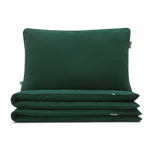Tmavě zelené bavlněné povlečení na dvoulůžko Mumla, 200 x 200 cm