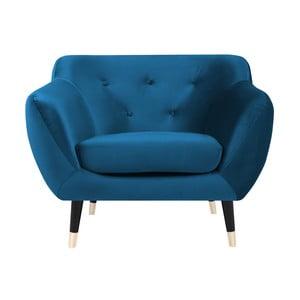 Fotoliu Mazzini Sofas AMELIE cu picioare negre, albastru