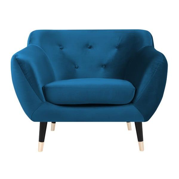 Amelie kék fotel fekete lábakkal - Mazzini Sofas