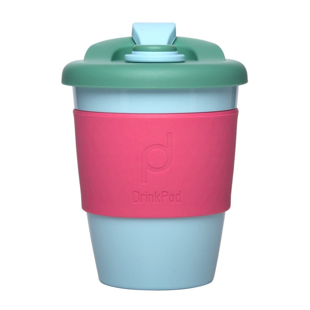 Růžovo-tmavozelený cestovní hrnek na kávu Pioneer Drink Pod Cofee, 340 ml