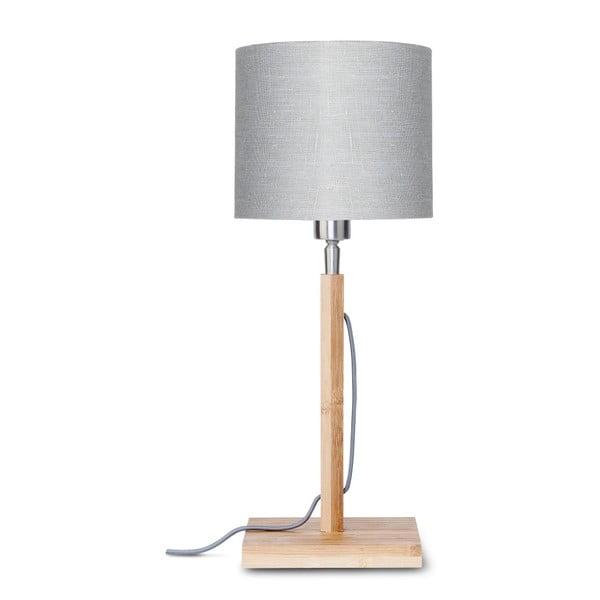 Stolní lampa se světle šedým stínidlem a konstrukcí z bambusu Good&Mojo Fuji