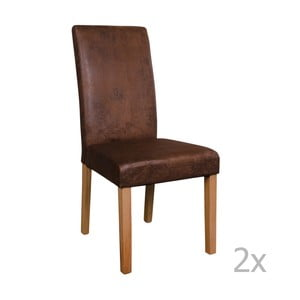 Sada 2 hnědých židlí House Nordic Mora