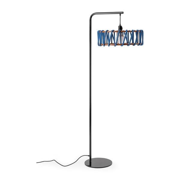 Macaron állólámpa fekete konstrukcióval és nagy kék lámpabúrával - EMKO