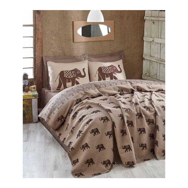 Brązowa lekka narzuta na łóżko dwuosobowe Fil Brown, 200x235 cm