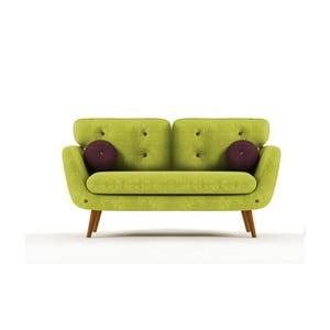 Sofa Alva pro dva, zelená/fialová