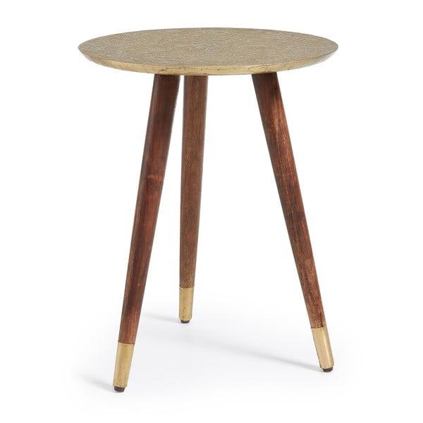 Odkládací stolek s deskou ve zlaté barvě La Forma Back