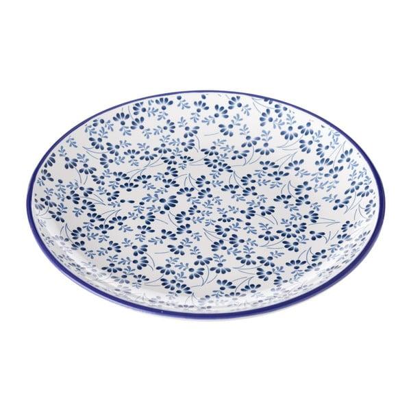 Modro-bílý talíř Unimasa Meadow