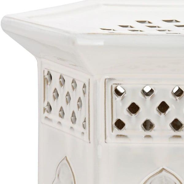 Bílý keramický stolek Safavieh Malta