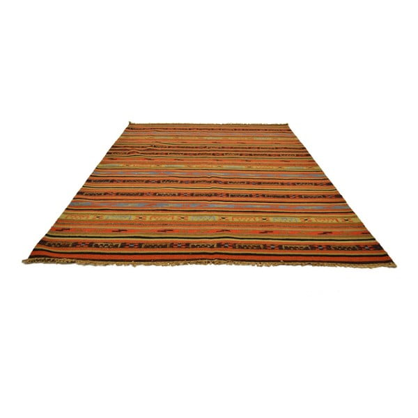 Ručně tkaný koberec Orange Brown Lines, 140x200 cm