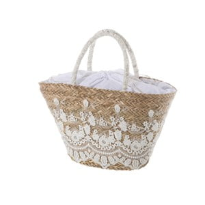 Bílá dámská kabelka z přírodního vlákna Unimasa