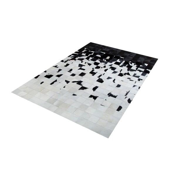 Černobílý koberec z pravé kůže Pipsa Degradada, 180x120cm