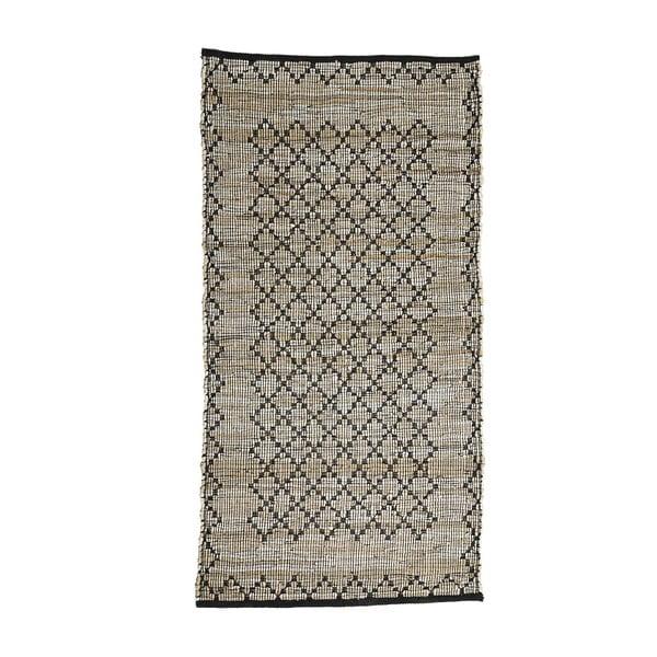 Šedý kožený koberec Simla, 300x200cm