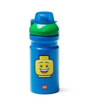 Sticlă pentru apă cu capac verde LEGO® Iconic, 390 ml, albastru