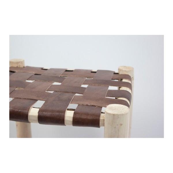 Ručně vyrobená taburetka z borovicového dřeva Surdic Alto Trenzado Piel