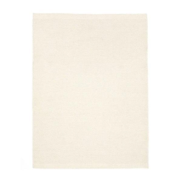 Bílý ručně tkaný vlněný koberec Linie Design Dilli,70x140 cm