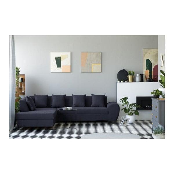 Tmavě modrá rohová rozkládací pohovka s úložným prostorem Kooko Home XL Left Corner Sofa Piano