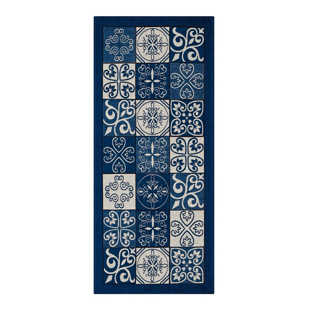 Modrý vysoce odolný kuchyňský koberec Webtappeti Maiolica Blu, 55 x 240 cm