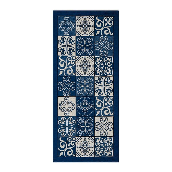 Modrý běhoun Floorita Maiolica, 55 x 140 cm