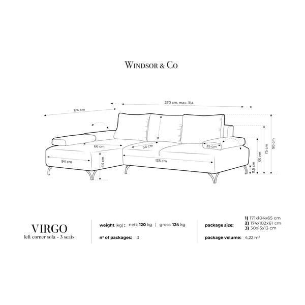 Tmavě šedá rohová rozkládací pohovka Windsor & Co Sofas Virgo, levý roh