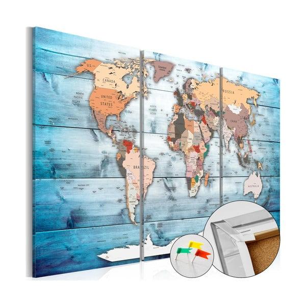 Nástenka s mapou sveta Bimago Sapphire Travels 120×80 cm