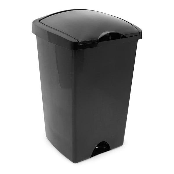 Coș de gunoi cu capac pe balamale Addis, 38 x 34 x 59 cm, negru