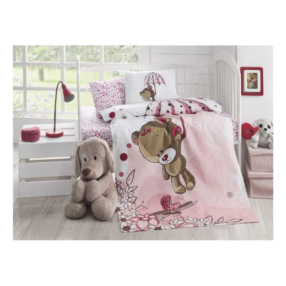Lehký prošívaný bavlněný přehoz na jednolůžko Baby Pique Pinkie, 95 x 145 cm