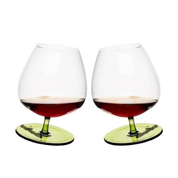Set 2 pahare pentru brandy Sagaform, verde