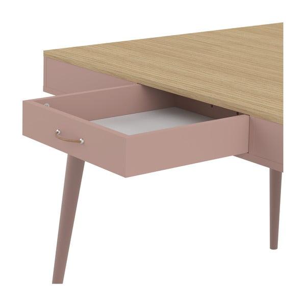 Růžový jídelní stůl v dekoru dubového dřeva Symbiosis Horizon