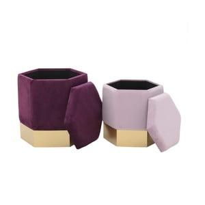 Sada 2 růžových stoliček se sametovým potahem aúložným prostorem InArt Ivii
