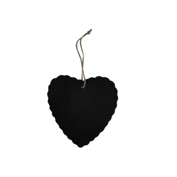 Tăbliţă decorativă Antic Line Heart Decor, negru