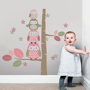 Samolepka na stěnu Sovičky a kmen stromu, růžová, 70x50 cm