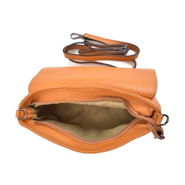 Koňakově hnědá kožená kabelka Mangotti Bags Baso