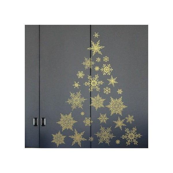 Sada 30 vánočních samolepek Fanastick Gold Snow Flakes