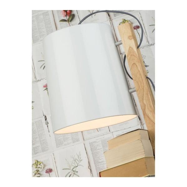 Volně stojící lampa s bílým stínidlem a policemi Citylights Cambridge, výška 168 cm