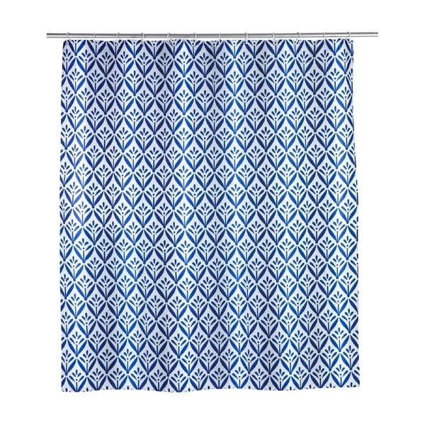 Modrý sprchový závěs Wenko Lorca, 180x200cm