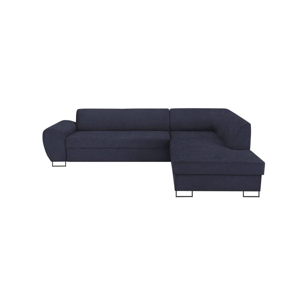 Tmavě modrá rohová rozkládací pohovka s úložným prostorem Kooko Home XL Right Corner Sofa Puro