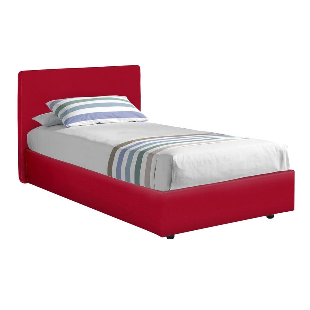 Červená jednolůžková postel s potahem z eko kůže 13Casa Ninfea, 80 x 190 cm