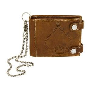 Hnědá kožená peněženka sřetízkem Friedrich Lederwaren Biker Ace