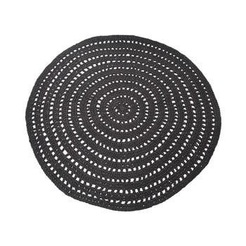 Covor rotund din bumbac LABEL51 Knitted, ⌀150cm, negru de la LABEL51