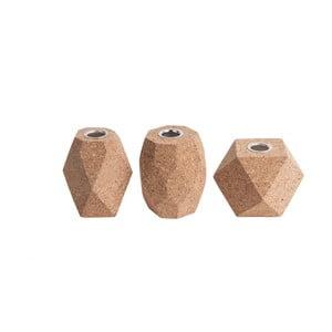 Set 3 suporturi din plută pentru lumânare PT LIVING Cone