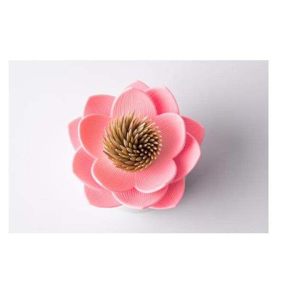 Stojánek na párátka QUALY Lotus Toothpick, bílý-růžový