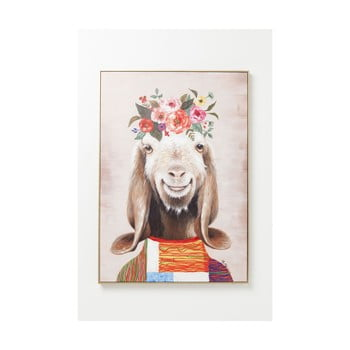 Tablou de perete Kare Design Flowers Goat, 102x72cm