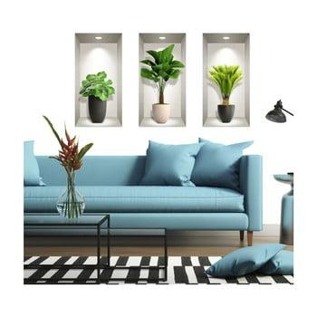 Set 3 autocolante 3D pentru perete Ambiance Tropical Plants de la Ambiance