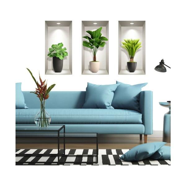 Set 3 autocolante 3D pentru perete Ambiance Tropical Plants